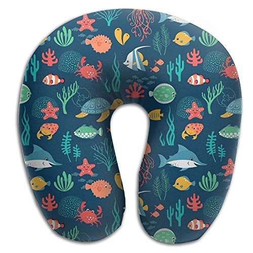 Hai Ni Memory Foam Neck Pillow Cushion Fish Turtle Jellyfish Marine Life Print Comfy Soft U-Shape Cervical Pillow Head Support For Travel Office Home Sleeping