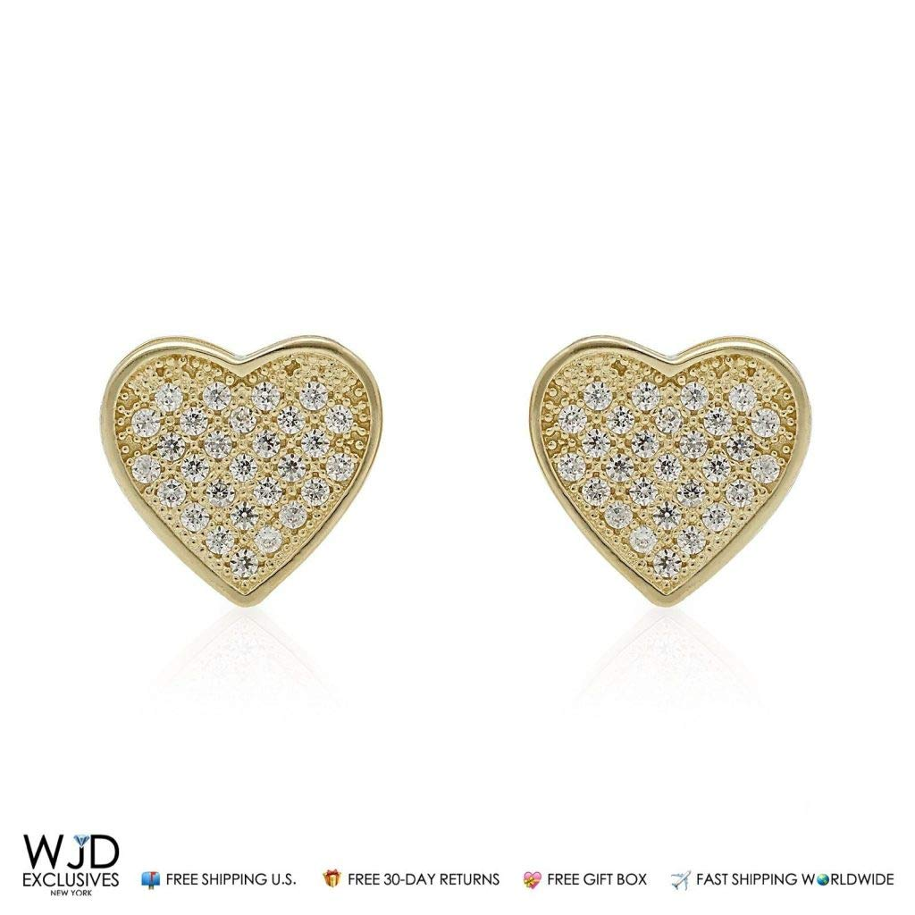 14K Yellow Gold 1Ct Simulated Diamond Heart Cluster Stud Earrings 10mm
