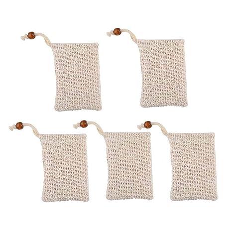 Hamkaw Bolsa de Jabón, Malla para Jabones de Lino Natural, para Espumar y Secar Jabones, Exfoliación, Masaje, Bolsas de Jabón con Cuerda.(5 Pieces)