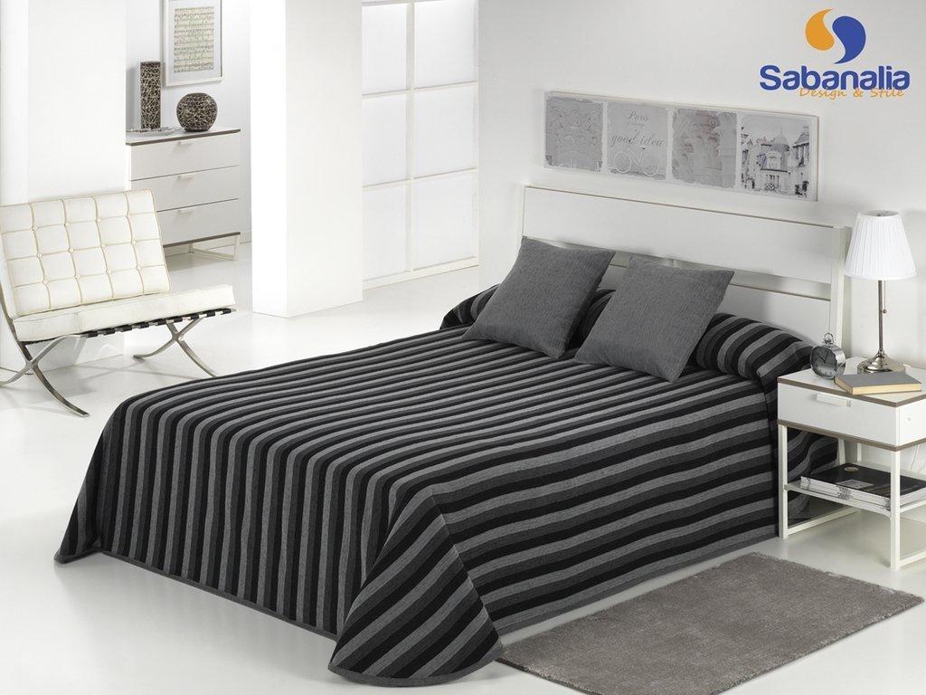 Sabanalia Dover - Cama 80-160 x 280 Colcha de chenilla disponible en varios colores y tama/ños gris liso