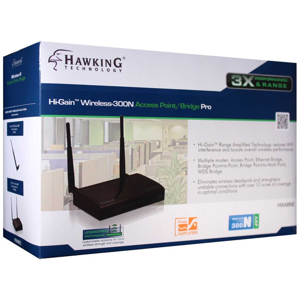 Hawking Technology Hi-Gain Wireless-300N Access Point, Bridge Pro (HWABN2)