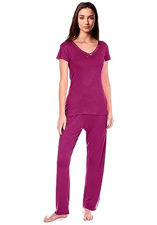 10bbd22b20 Cookies and Cream Womens Bow Trim Comfy PJ Pyjama Set Viscose PJ's Pyjamas  Ladies Lounge Wear: Amazon.co.uk: Clothing