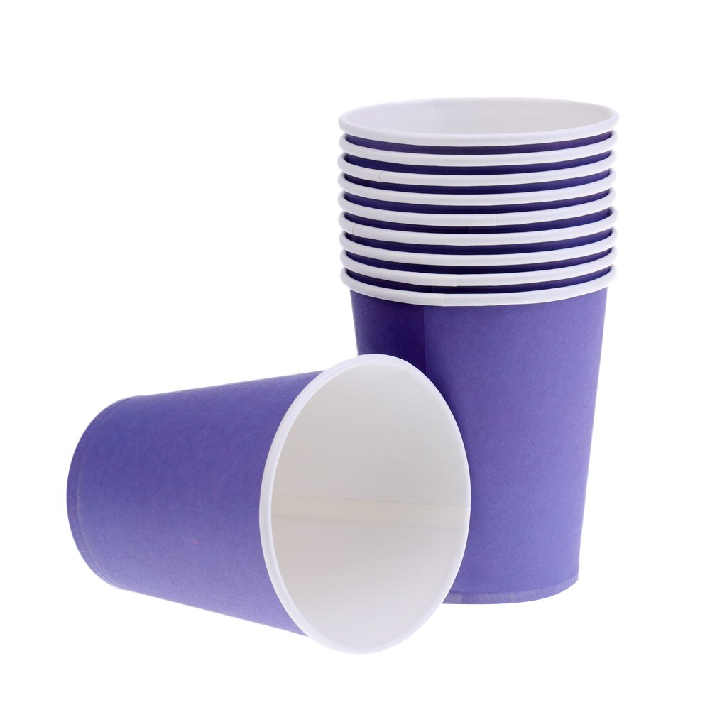 MagiDeal 10 Pieces Plain Purple DIY Paper Cups Mugs Crafts Drinking Mugs Birthday Party Wedding Tableware Catering AEQW-WER-AW144340