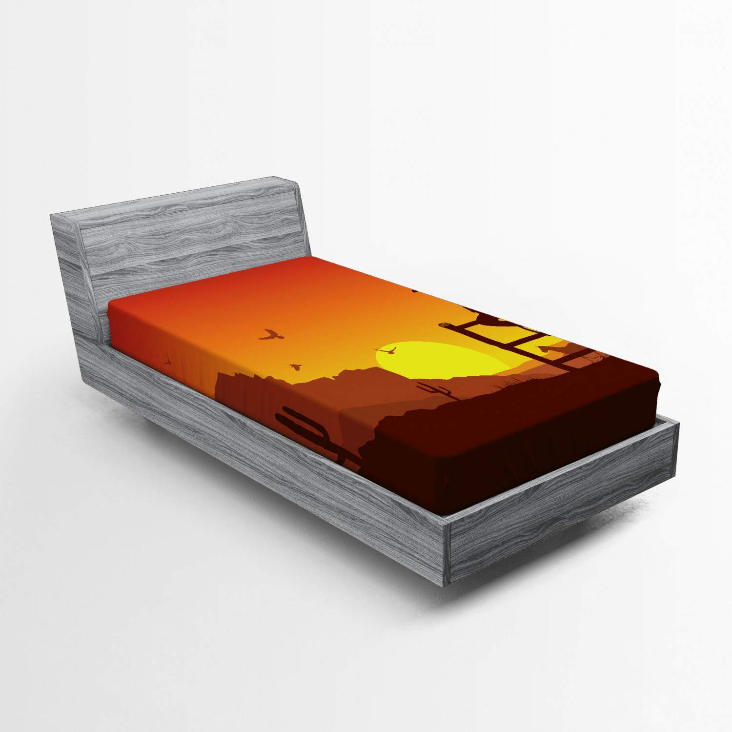 Ambesonne Western Fitted Sheet, Silhouette of Cowboy in Wild West Sunset Scene American Culture Image Print, Bed Cover with All-Round Elastic Deep Pocket for Comfort, Twin XL Size, Orange