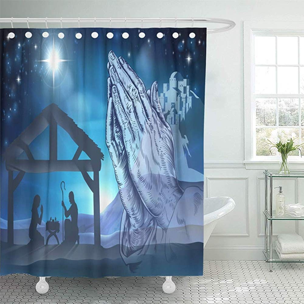 Starocle 72x72 Shower Curtain Bathroom Waterproof Nativity Christian Christmas Scene Of Baby Jesus In The Manger With Mary And Joseph Home Decor Polyester