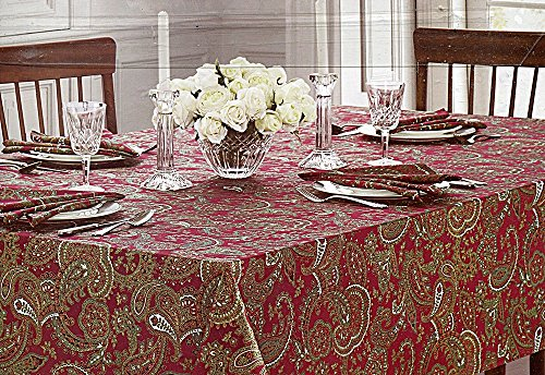 (Waterford Elegant Christmas Paisley Tablecloth, 70-by-126 Inch Oblong)