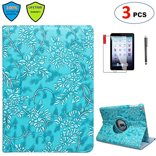 iPad Case Mini 3 with Bonus Screen Protector and Stylus - iPad Mini 3/2/1 Case Cover - 360 Degree Rotating Stand with Auto Sleep/Wake for Mini 1st/ 2nd/ 3rd Generation - A1599 A1600(Embossed Flower)
