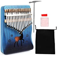 IAMGlobal Kalimba Thumb Piano 17 Keys with Mahogany Wood with Bag, Hammer and Music Book, Perfect for Music Lover, Beginners, Children(Deer, Blue)
