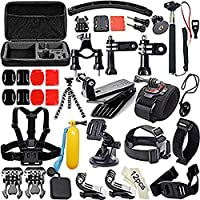 Action Camera Accessories Kit 50-In-1 for GoPro Hero Session/5 Hero 1 2 3 3+ 4 5 6 SJ4000 5000 6000 DBPOWER AKASO VicTsing APEMAN WiMiUS Rollei QUMOX Lightdow Campark And Sony Sports DV and More