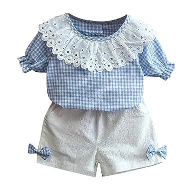 f3344c6573e2f Ensembles Short et Haut Fille T-Shirt Tops à Carreaux + Shorts Ete Enfant  Fille