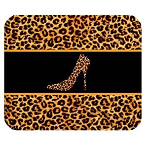Leopard Skin High Heels Personalized Rectangle Mouse Pad by runtopwell