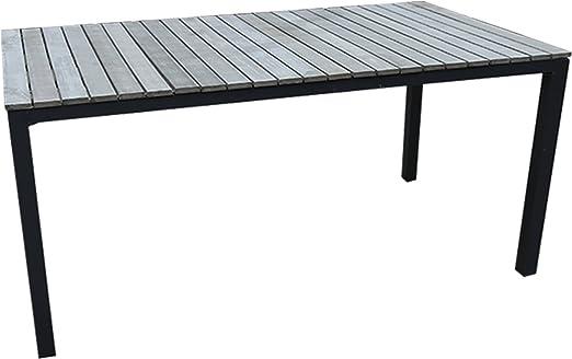 Mesa de jardín de aluminio y madera sintética: Amazon.es: Jardín