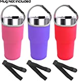 3 Pack Tumbler Carrier Holder Pouch for All 30oz Stainless Steel Travel Insulated Coffee Mug,Sonku Neoprene Sleeve with Carrying Handle,Fit for YETI Rambler Ozark Trail Rtic and More-Red,Rosey,Purple