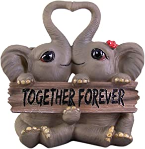 Kissing Elephants Holding Sign Statue 6 1/4 Inch