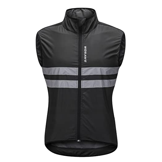 Bill Candy Men s High Visibility Cycling Wind Vest Sleeveless Reflective  Bicycle Gilet (M(Chest 38 e602c2924