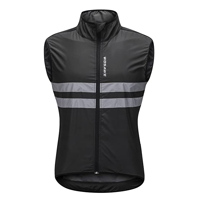 WOSAWE Men s High Visibility Cycling Wind Vest Sleeveless Reflective  Bicycle Gilet ba56395f2