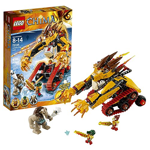 Lego Year 2014 Legends of Chima Series Vehicle Set #70144 - LAVAL's FIRE LION with Dual Cockpit, 4 Missiles Weapon Pod, Opening Jaws and Translucent Flame Elements Plus 3 Minifigures: Laval, Cragger and Mungus (Total Pieces: 450)
