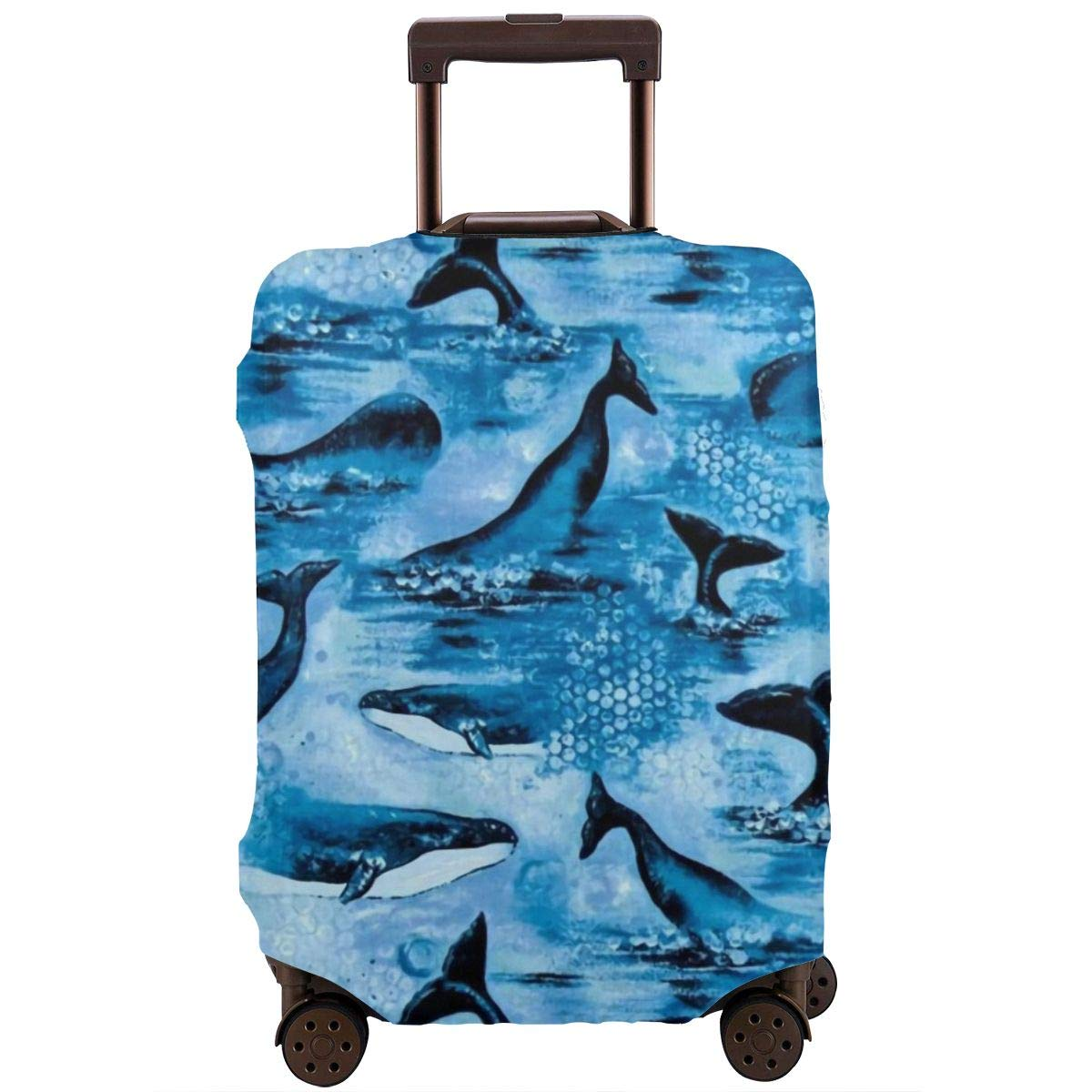 Luggage Cover Protective Washable Suitcase Protector Cover Travel Elastic Spandex Baggage Protector Dolphin Playful Sea Wave Fit 18 To 32 Inch