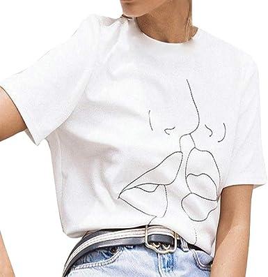 Luckycat Camisetas de Mujer de Manga Corta Impresión de Labios Camisa Joker Informal Creativa Lindo Blusa T-Shirt Elegantes Casual Deporte T Shirt Moda Cuello Redondo Suelto Tops: Amazon.es: Ropa y accesorios