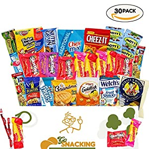 Go Snacking 30 Piece Candy Man Box College Care Package Office Snacks Military Care Package Snacks For Kids Camping Contains Bulk Snacks Candy Cookies Chips Nuts Dried Fruits Assortment Bundle