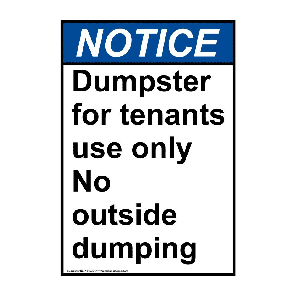 "Notice Private Dumpster Sticker 3.5/"" x 5/"""