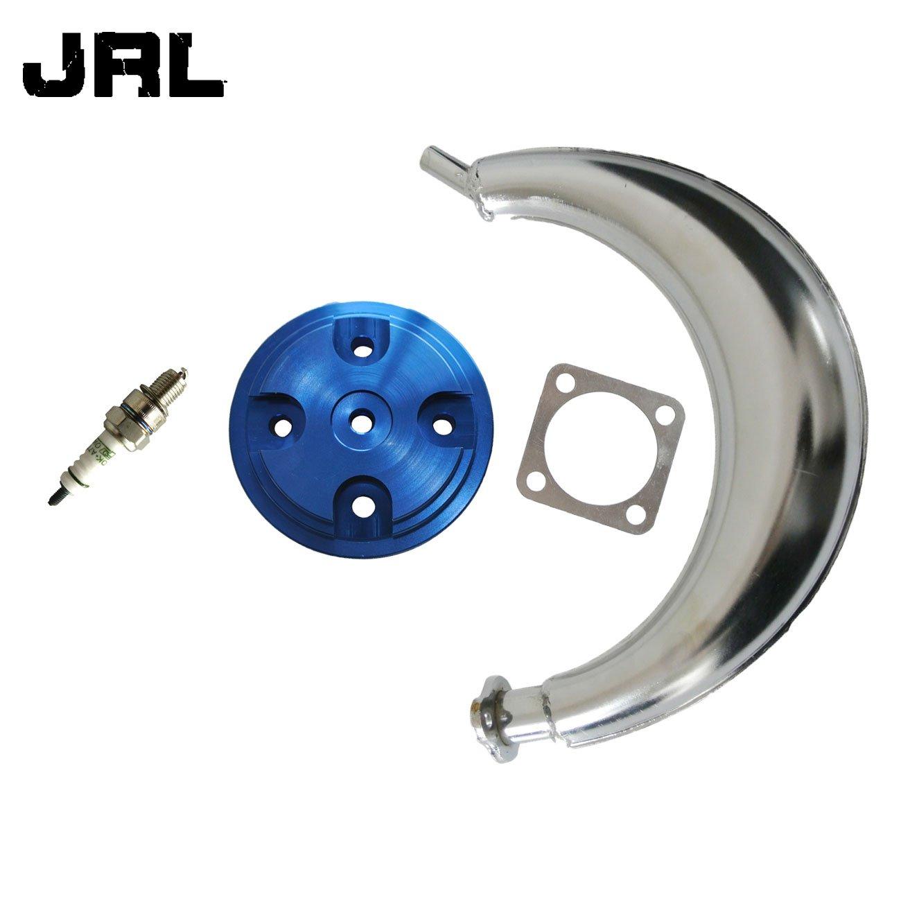 JRL CNC Blue Cylinder Head Cover&Muffler Exhaust For 66cc 80cc Motorized Bike Kang Di