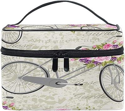 Estuche de Maquillaje de Viaje portátil Vintage Bicicleta Rose ...