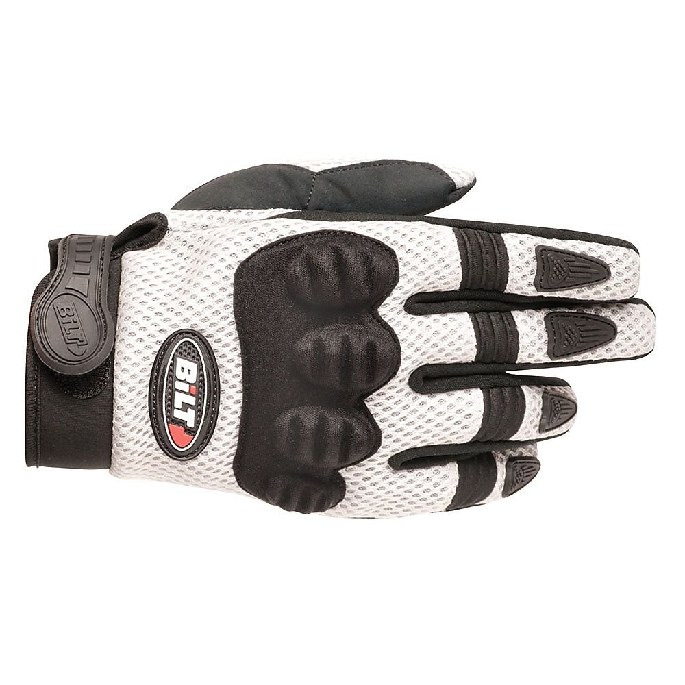 BILT Free Flow Vented Off-Road Motorcycle Gloves - XL, Black/White