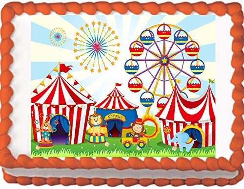 Circus Animals Birthday Edible Cake Topper (8''x 10'' Sheet) by My Party Helpers