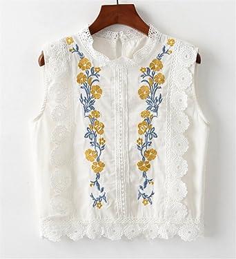 ZFFde Nuevo estilo Camisa sin mangas corta de encaje bordado con flores para tu blusa (