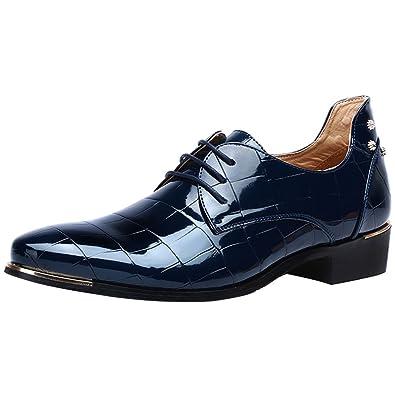 e557ea782724fd wealsex Derby Cuir Vernis Bout Pointu Chaussures de Ville à Lacets  Chaussure Costume Affaires Mariage Homme