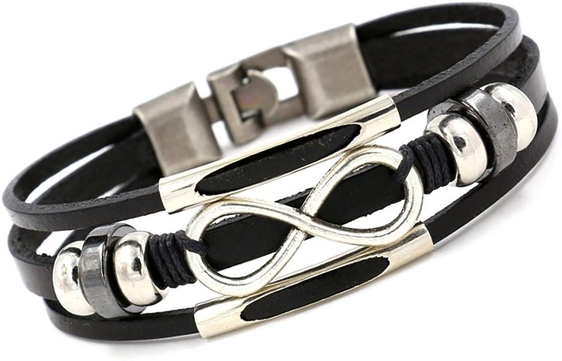 Unique pulsera brazalete Infinito cuero trenzado tres filas negro para la mujer ajustable 16cm a 18cm