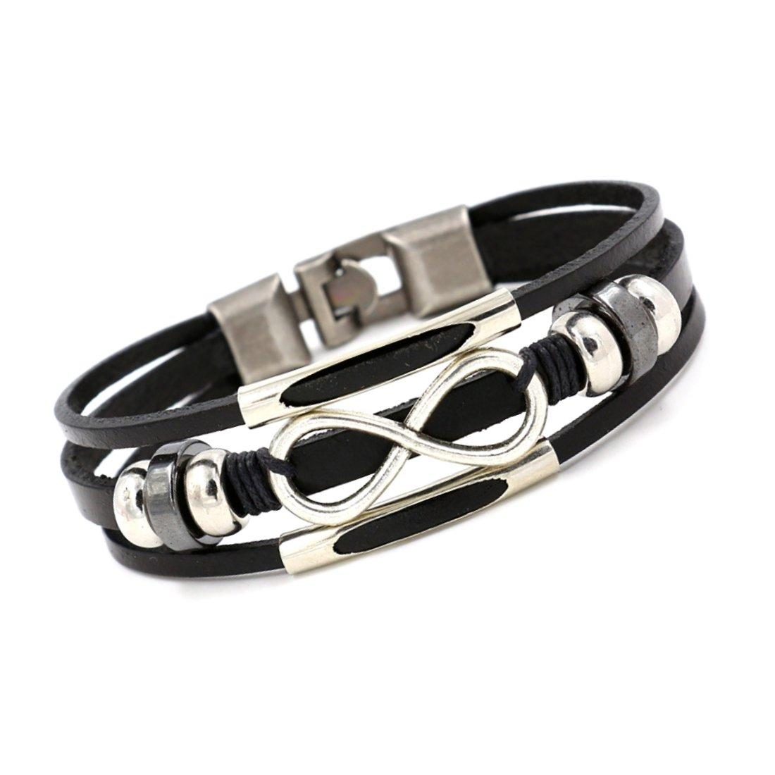 Bracelet en cuir pour femme Infini noir trois rangs elemente perles réglable 16cm á 18cm Unique SY766
