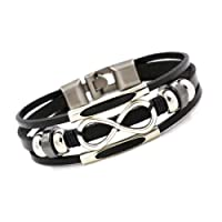 Bracelet en cuir pour femme Infini noir trois rangs elemente perles réglable 16cm á 18cm