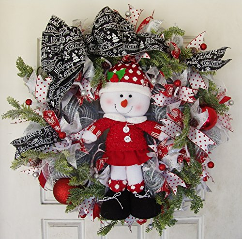 Red White Snowman Girl Front Door Deco Mesh Wreath, Evergreen Pine Pinecone, Patio Christmas Decor, Country Farmhouse Farm Porch Decoration