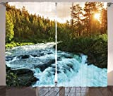 Ambesonne Lake House Decor Curtains, River In Norway Sunrise Sunbeams Through Pine Trees Springtime Landscape Scenics, Living Room Bedroom Decor, 2 Panel Set, 108 W X 90 L Inches For Sale