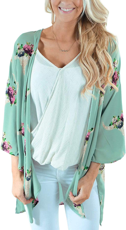 Womens Flowy Chiffon Kimono Cardigan Top Boho Floral Beach Cover Up Casual Loose Shirt