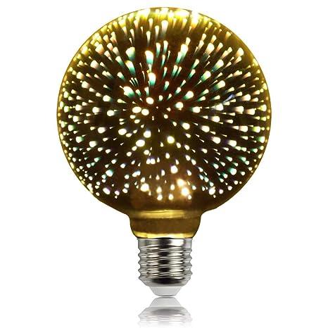 Silver, G95 LightingDesigner Edison Classic 3D Bulb Firework Led Light Source AC85-240V E27 Decorative Light Bulb