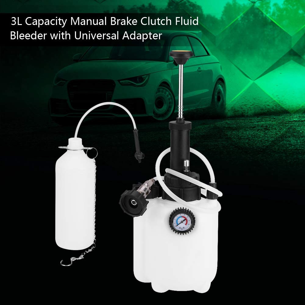 Qiilu Manual Brake Bleeder 3L Capacity Manual Brake Clutch Fluid Bleeder Bleeding Tool with Universal Adapter