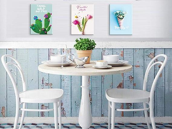 Piy Painting 3X Impresiones de Lienzo en Flor de tulipán Cactus y Margarita Cuadro en Lienzo Pinturas murales Decoración Arte de Marco para Sala de ...
