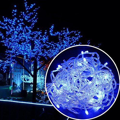 Autolizer 100 LED Blue Fairy String Lights Battery Powered Lamp for Xmas Tree Holiday Wedding Party Decoration Halloween Showcase Displays Restaurant or Bar and Home Garden - Control up to 8 Modes]()