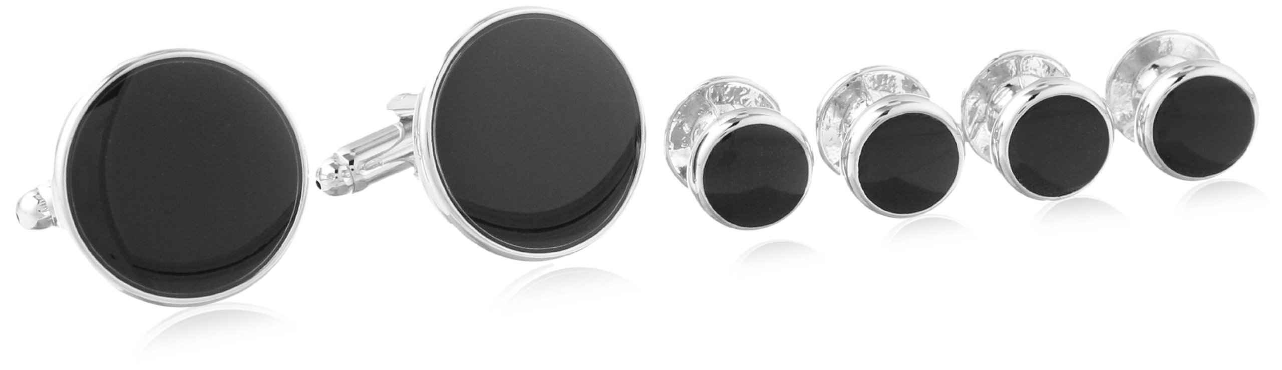 Stacy Adams Men's Silver Stud Set With Black Enamel, Silver/Jet, One Size