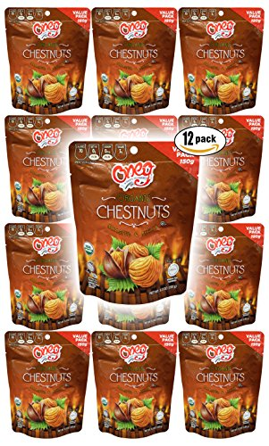 Chestnuts Organic Whole Roasted Peeled Chestnuts (Chestnuts 5.3oz, 12-Pack)