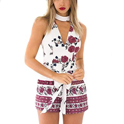 57207e96f793 Junjie Women Bohemian Sexy Deep V-Neck Sleeveless Floral Print Playsuit