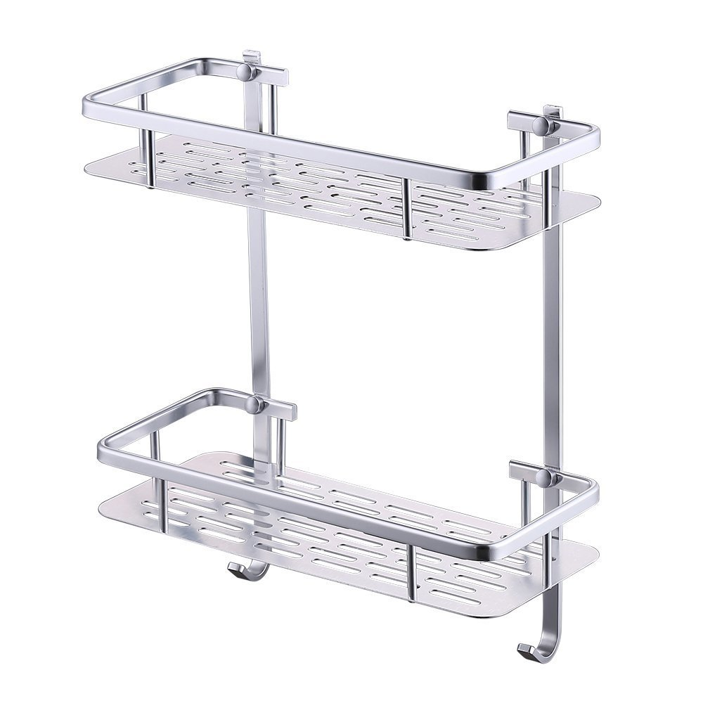 BOEN A11032 Rustproof Aluminum 2-Tier Shower Caddy with Hooks Wall Mounted,Sliver Sand-Sprayed