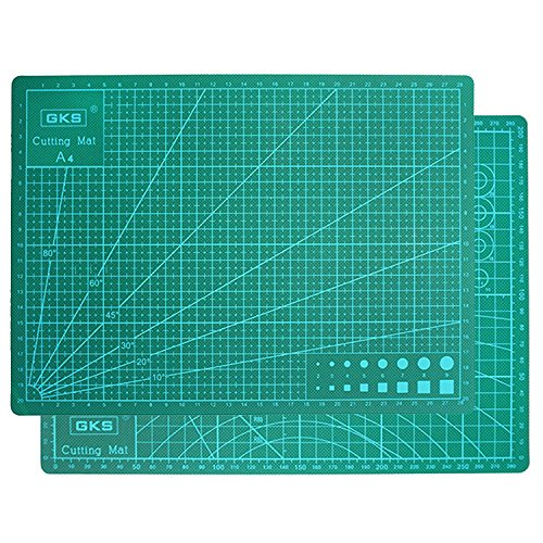 GKS Professional Self-Healing Double Sided Rotary Cutting Mat, Long Lasting Thick Non-Slip Mat for Quilting, Sewing and All Arts & Crafts Projects (Green, A4)