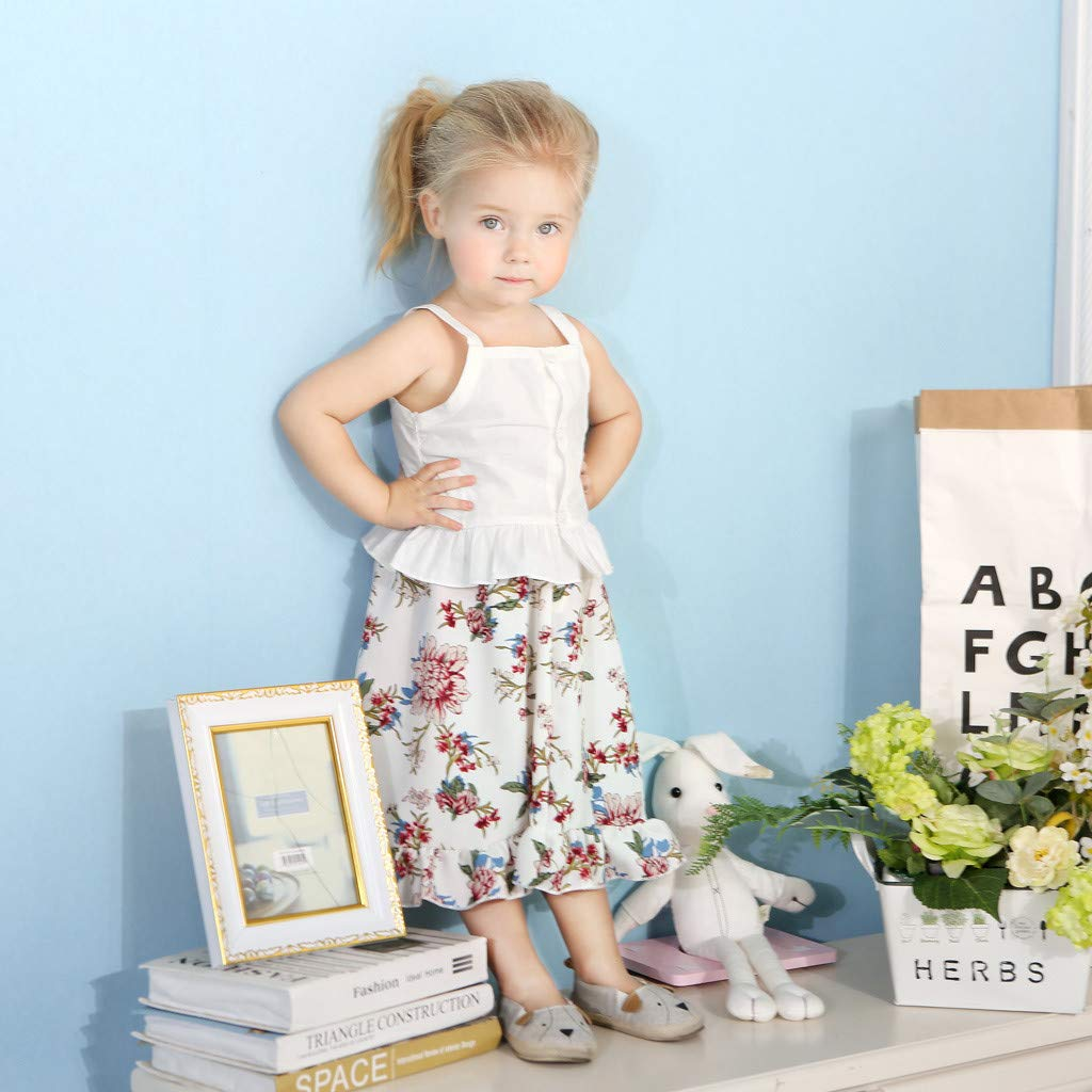 2pcs Baby Girl Dress Set, Toddler Kids Sleeveless Ruffles Vest Tops + Floral Print Skirt Clothes Outfits (18-24 Months, White) by Hopwin Baby girls Suits (Image #3)