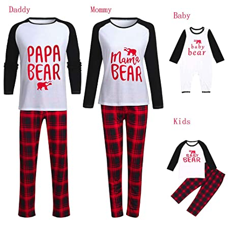 ccd9f36704 COOKDATE-baby family pajamas Men XXL Newest Matching Christmas Family  Pajamas Infant Baby Boy Plaid Romper Sleepwear Clothes  Amazon.in  Baby