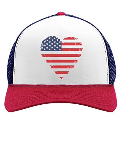 27c7f229956 American Heart Flag USA Vintage Flag Patriotic 4th of July Trucker Hat Mesh  Cap One Size Blue White Red at Amazon Men s Clothing store