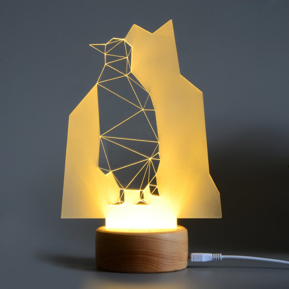 ThreeCat LED Night Light 3D Illusion Desk Lamp Multiple Fashion Home Decorations Beech Wood Base Suitable for Kids Bedroom LED Decor Soft Lighting (Penguin)